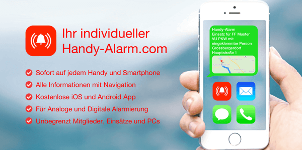 handy alarm alarmierung mit kostenloser app und einsatzmonitor. Black Bedroom Furniture Sets. Home Design Ideas